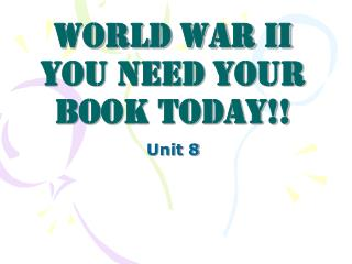 World War II You need your book today!!