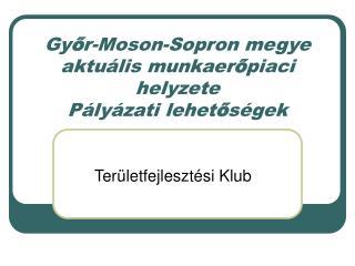 Gy ő r-Moson-Sopron megye aktuális munkaer ő piaci helyzete Pályázati lehet ő ségek
