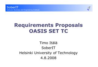 Requirements Proposals OASIS SET TC