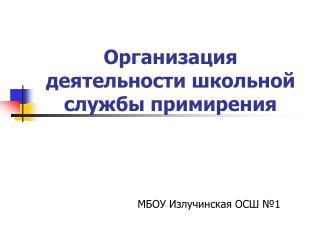 Организация деятельности школьной службы примирения