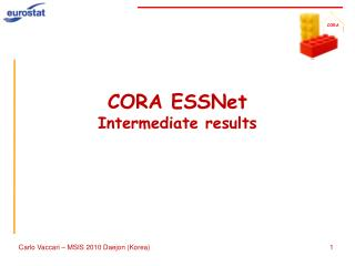 CORA ESSNet Intermediate results