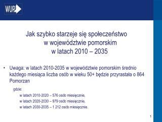 Jak szybko starzeje się społeczeństwo  w województwie pomorskim  w latach 2010 – 2035