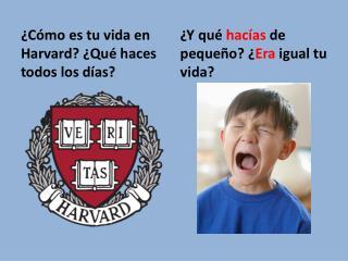 ¿Cómo es tu vida en Harvard? ¿Qué haces todos los días?