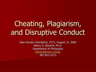 Cheating, Plagiarism, and Disruptive Conduct