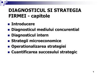 DIAGNOSTICUL SI  STRATEGIA FIRMEI - capitole
