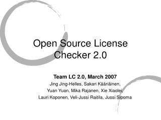 Open Source License Checker 2.0