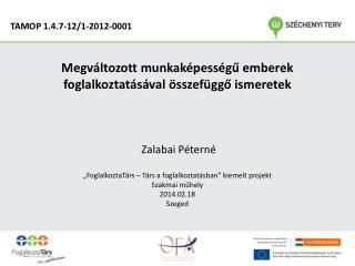 Megváltozott munkaképességű emberek foglalkoztatásával összefüggő ismeretek  Zalabai Péterné