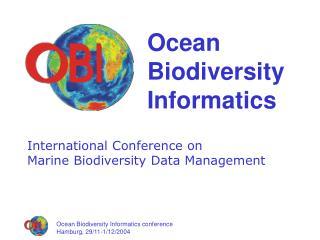 Ocean Biodiversity Informatics