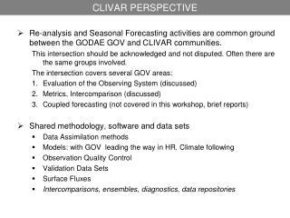 CLIVAR PERSPECTIVE