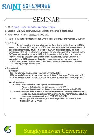 1 .  T itle  :  Introduction to Nanotechnology Policy in Korea