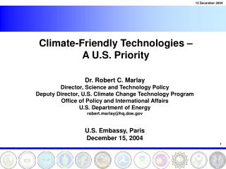 Climate-Friendly Technologies –  A U.S. Priority
