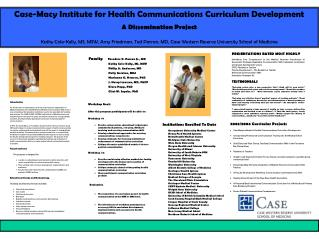 Case-Macy Institute for Health Communications Curriculum Development A Dissemination Project