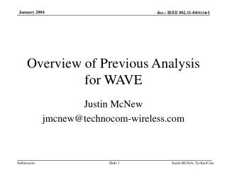 Overview of Previous Analysis for WAVE