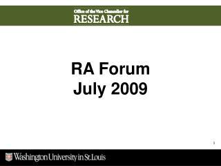 RA Forum July 2009