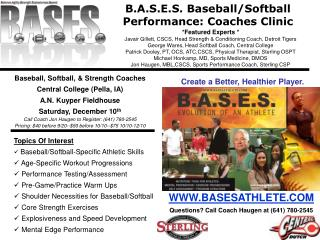 B.A.S.E.S. Baseball/Softball  Performance: Coaches Clinic