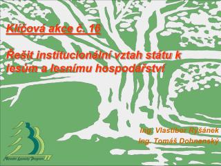 Klíčová akce č. 16  Řešit institucionální vztah státu k lesům a lesnímu hospodářství