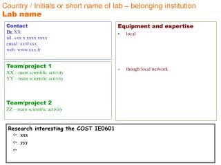 Country / Initials or short name of lab – belonging institution  Lab name