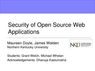 Security of Open Source Web Applications