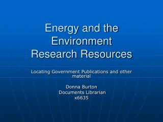 Energy and the Environment Research Resources