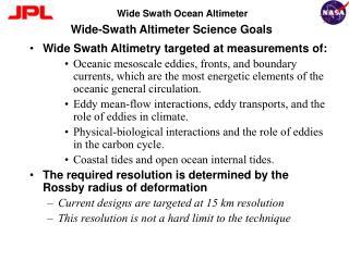 Wide-Swath Altimeter Science Goals