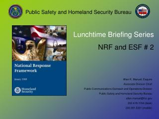 Lunchtime Briefing Series NRF and ESF # 2