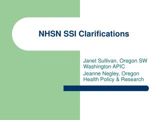 NHSN SSI Clarifications