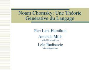 Noam Chomsky: Une Théorie Générative du Langage