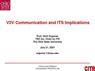 V2 V Communication and ITS Implications