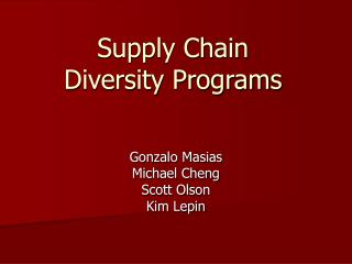 Supply Chain  Diversity Programs