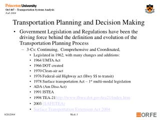 Transportation Planning and Decision Making