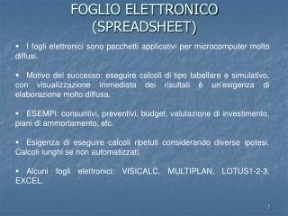FOGLIO ELETTRONICO SPREADSHEET