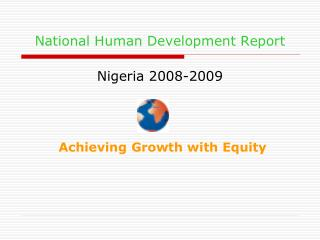 National Human Development Report Nigeria 2008-2009
