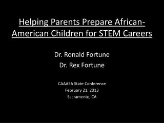 Helping Parents Prepare African-American Children for STEM Careers