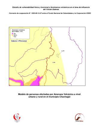Modelo de personas afectadas por Amenaza Volcánica a nivel urbano y rural en el municipio Nariño