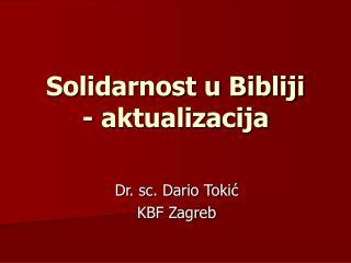 Solidarnost u Bibliji - aktualizacija