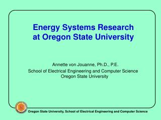 Energy Systems Research  at Oregon State University