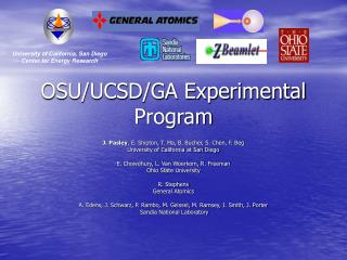 OSU/UCSD/GA Experimental Program