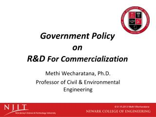 Government Policy  on  R&D  For Commercialization