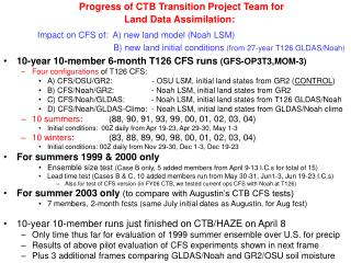 10-year 10-member 6-month T126 CFS runs  (GFS-OP3T3,MOM-3) Four configurations  of T126 CFS: