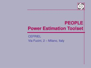 PEOPLE Power Estimation Toolset