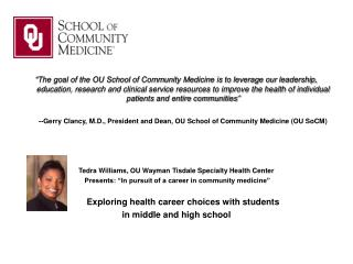 A Career in Community Medicine