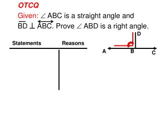 OTCQ Given:   ABC is a straight angle and  BD     ABC. Prove  ABD is a right angle.