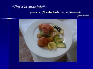 """""""Pui a la spaniole"""" propus de  Ţica Andrada din 13 I, Tehnician  în  gastronomie"""