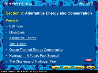 Section 2:  Alternative Energy and Conservation