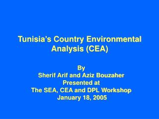 Tunisia's Country Environmental Analysis (CEA)