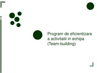 Program de eficientizare a activitatii in echipa Team-building
