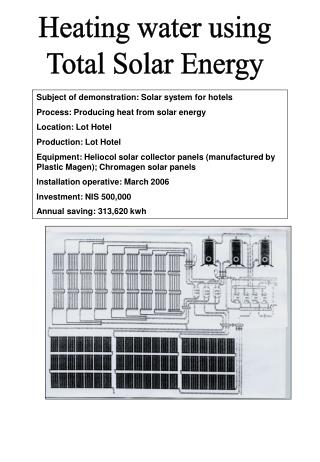 Heating water using Total Solar Energy