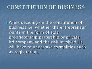 CONSTITUTION OF BUSINESS