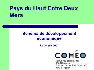 Schéma de développement économique Le 20 juin 2007