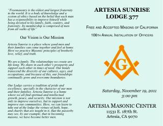 ARTESIA SUNRISE LODGE 377 F REE AND A CCEPTED M ASONS OF C ALIFORNIA